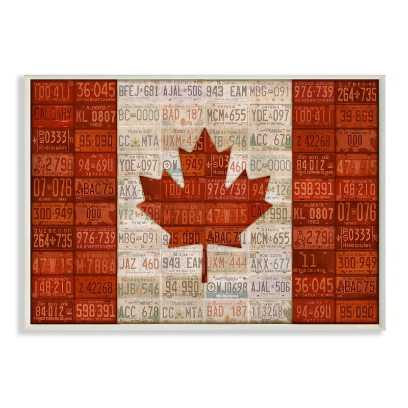 Stupell Industries Canadian Flag With License Plates Stretched Graphic Art On Canvas Wayfair
