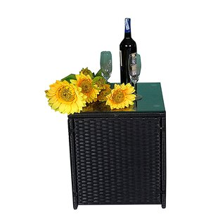 Viridian Outdoor Patio Garden Wicker Side Table