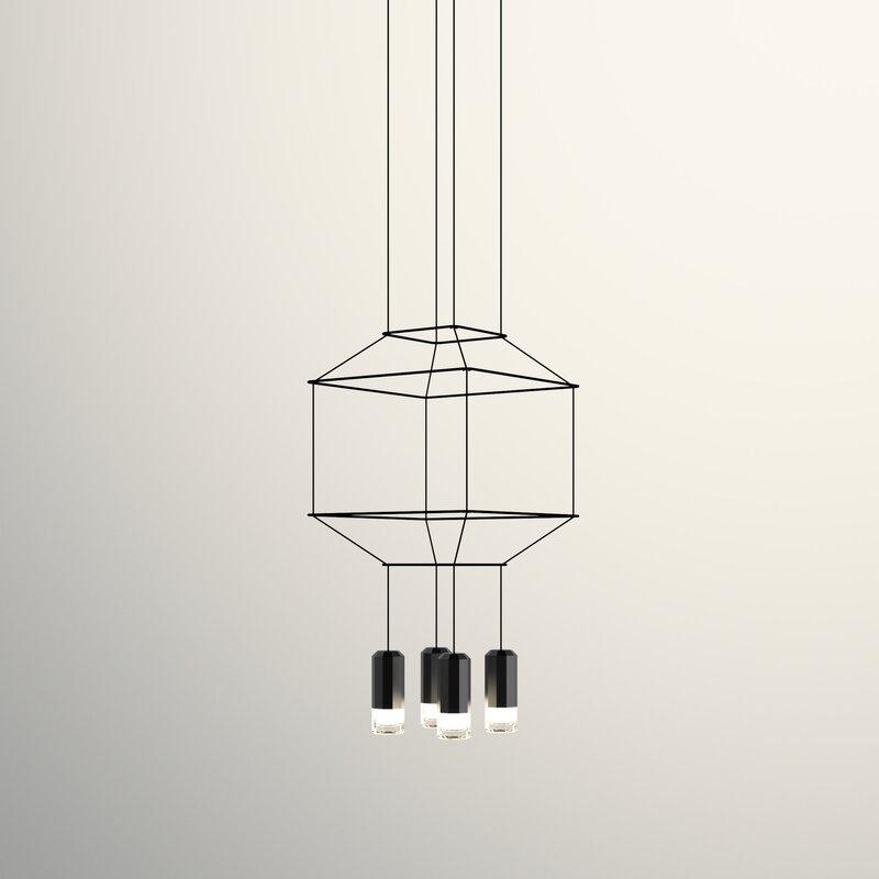 Wireflow 3D Square 4 Light Geometric Pendant
