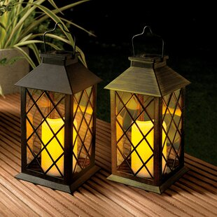 Desert Steel Cole & Bright Solar Lantern Traditional Candle 1-Light LED Deck Light