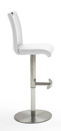 Höhenverstellbarer Barhocker Alida | Küche und Esszimmer > Bar-Möbel > Barhocker | Edelstahl gebürstet/weiß | Polyurethan - Edelstahl - Gebürstet - Metall - Stoff | Home & Haus