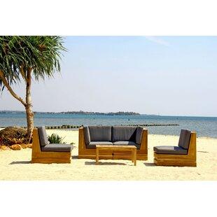 Trijaya Living Seaside 5 Piece Teak Sunbrella Sofa Set with Cushions