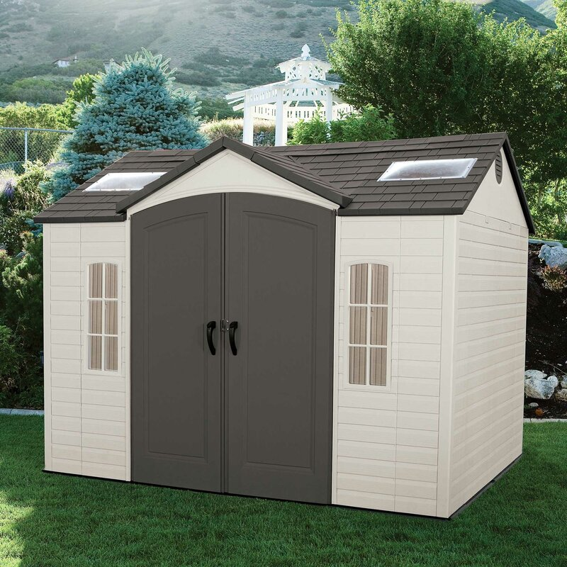 Garden Sheds 7 X 9 lifetime side entry 9 ft. 8 in. w x 7 ft. 8 in. d plastic storage