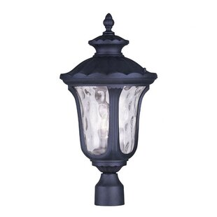 Gurnee Traditional Clear Water Glass Outdoor Post Lantern by Three Posts