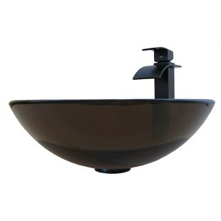 Best Price TY Glass Circular Vessel Bathroom Sink with Faucet By Novatto
