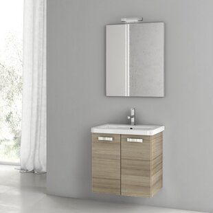 City Play 24 Wall-Mounted Single Bathroom Vanity Set with Mirror by ACF Bathroom Vanities