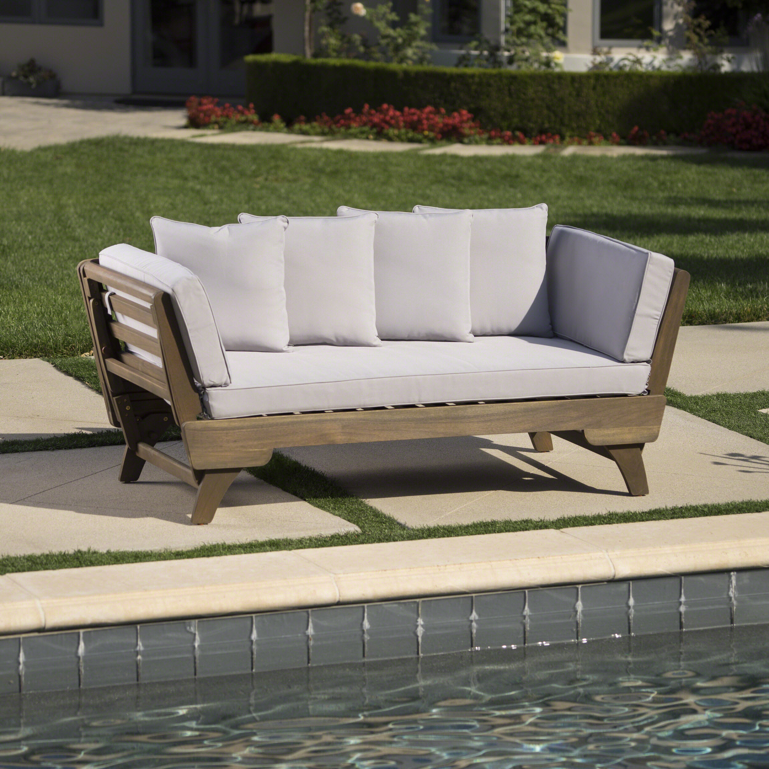 Union Rustic Ellanti Patio Daybed with Cushions & Reviews