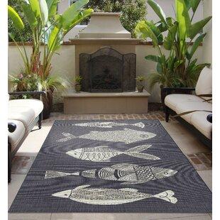 Hiram Fish Gather Navy Indoor Outdoor Area Rug