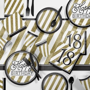 Black and Gold Birthday Party Supplies Kit