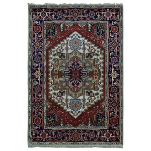 Gargan Serapi Hand-Woven Wool Navy/Ivory/Red Area Rug