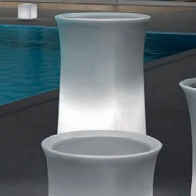 "100 Essentials Brightness Plastic Pot Planter  Color: Charcoal, Size: 38.58"" H x 20.87"" W x 20.87"" D"