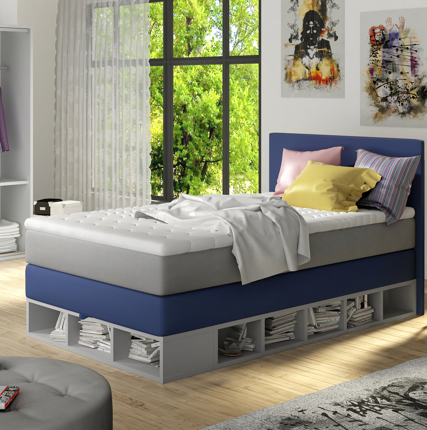 Zoomie Kids Extra Long Twin Platform Bed With Mattress