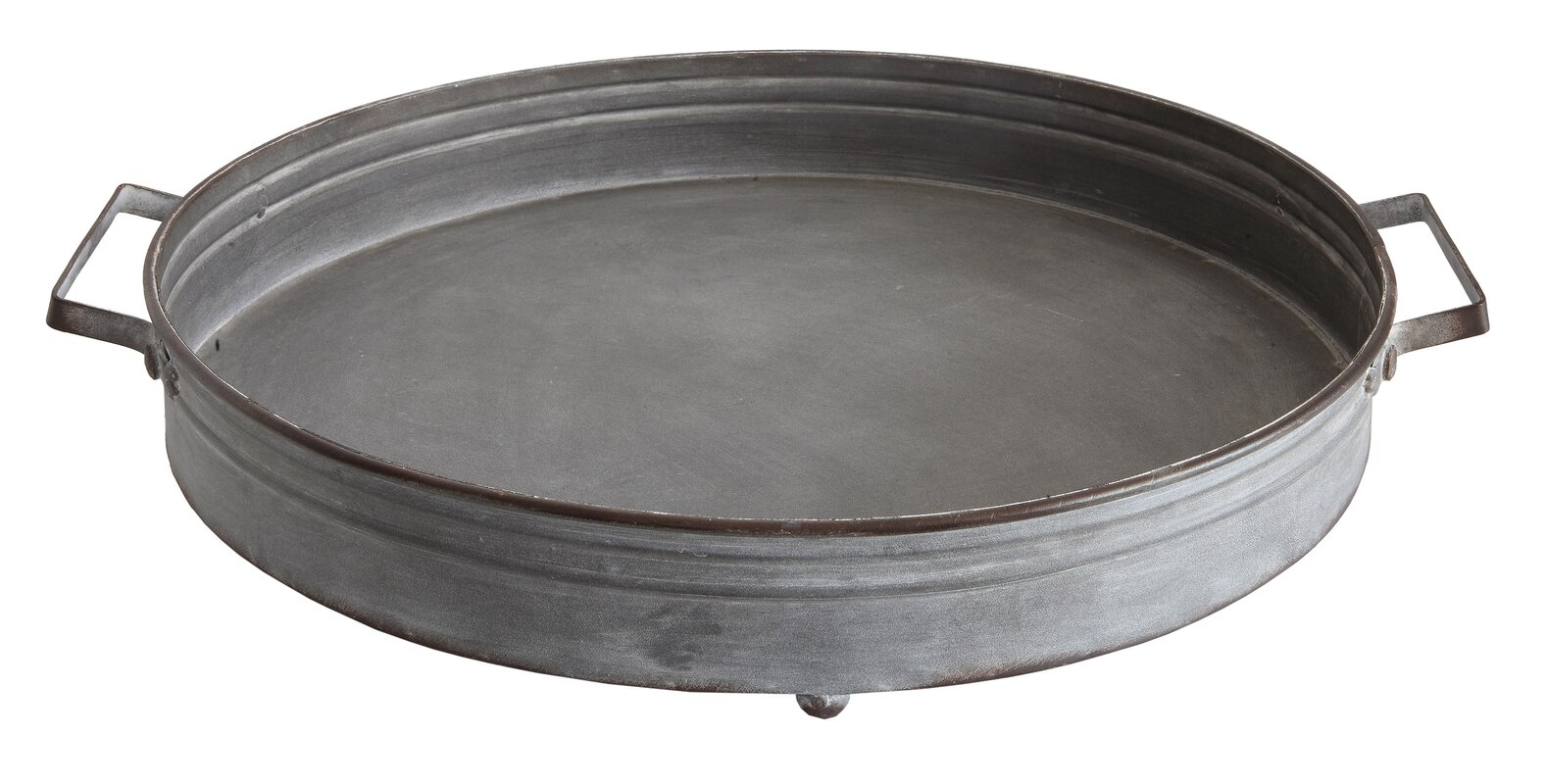 Wadlington Round Decorative Iron Tray with Handle