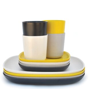 Canton 12 Piece Solid Color Dinnerware Set  sc 1 st  Wayfair : bamboo dinnerware - pezcame.com