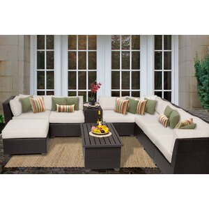 Barbados 10 Piece Sectional Seating Group with Cushion