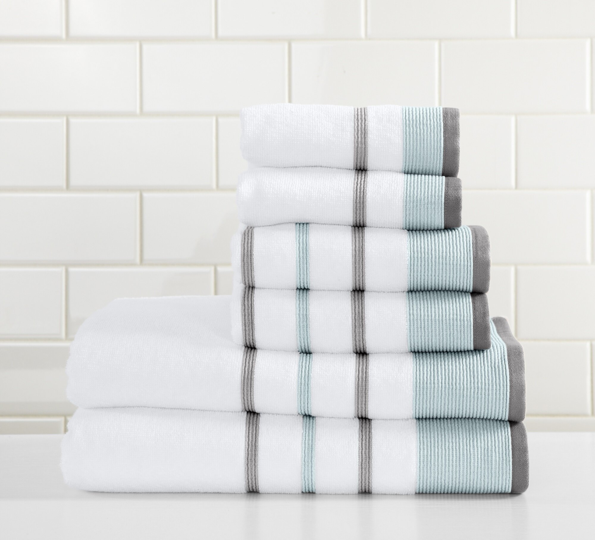 6 Piece 100 Cotton Bath Towel Set Extra Soft Absorbent Towels