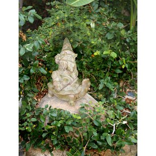 Sonny Mossy Stone Garden Gnome Playing Fiddle On Turtle Statue By Red Barrel Studio