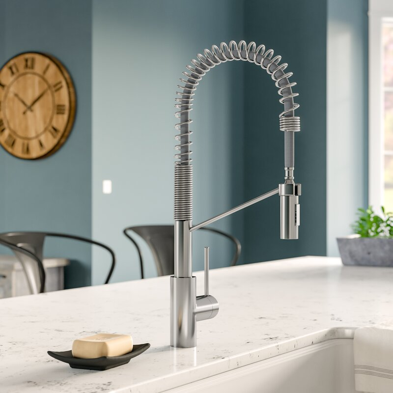 Kraus Oletto Pull Down Single Handle Kitchen Faucet with QuickDock