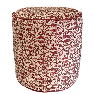 Terracotta Floral Outdoor Pouf Ottoman by R&MIndustries