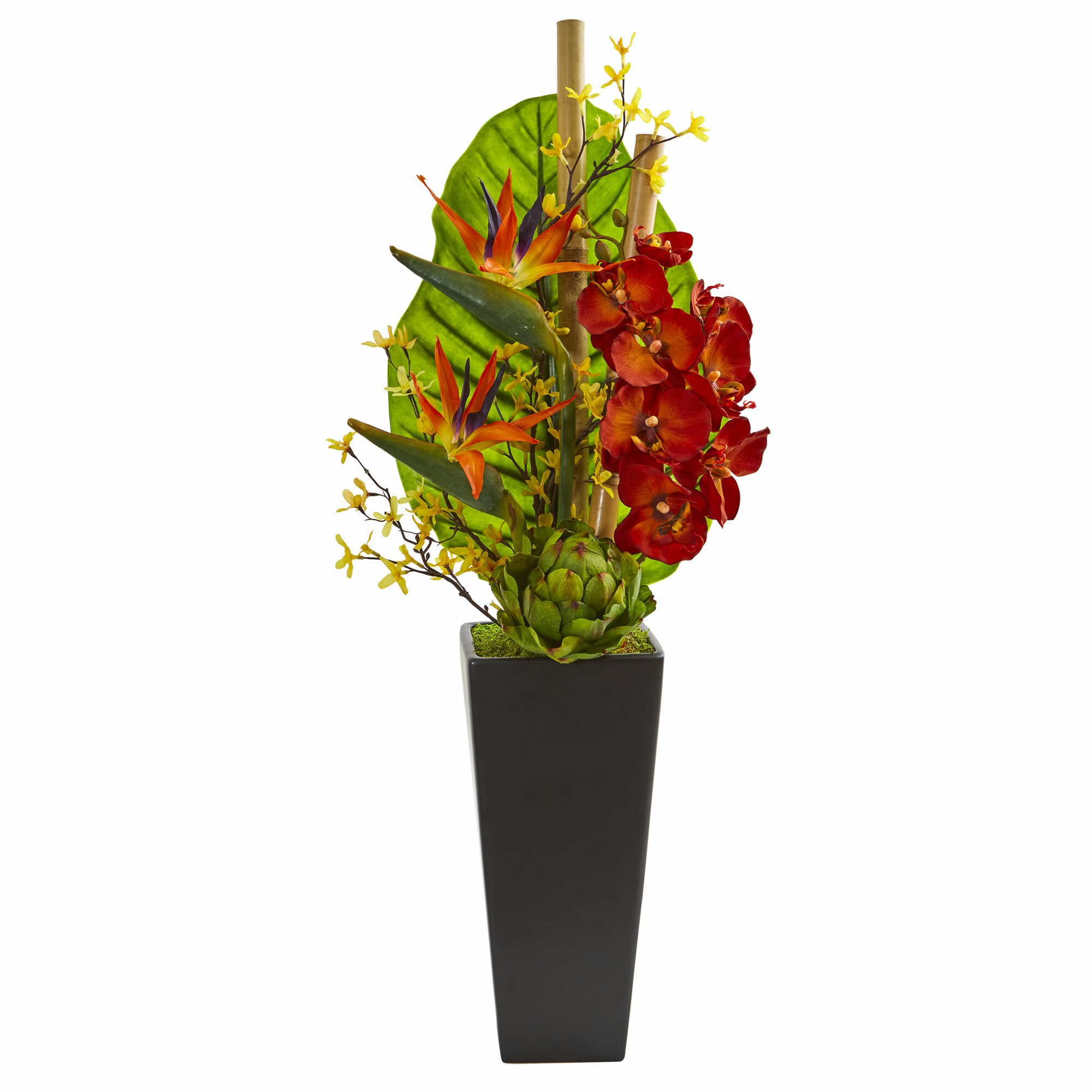 Brayden Studio Artificial Tropical Orchid Bird Of Paradise And Artichoke Mixed Floral Arrangement In Planter Wayfair