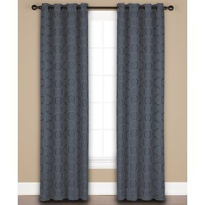 Halo Geometric Semi-Sheer Grommet Single Curtain Panel