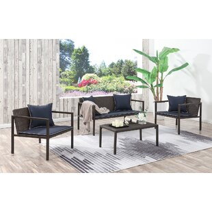 Bourne 4 Piece Sofa Set With Cushions by George Oliver Cheap