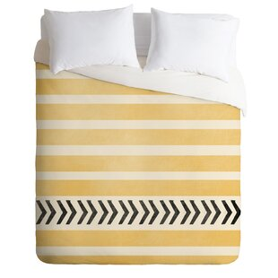 East Urban Home Yellow Stripes and Arrows Duvet Cover Set