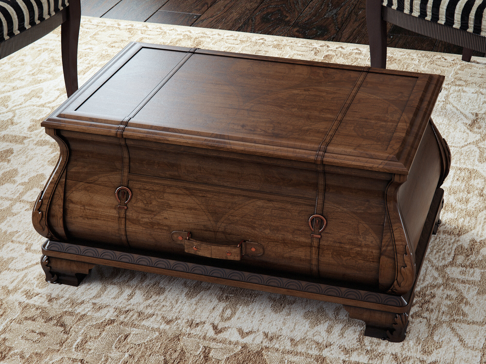 steamer id luggage f z trunks vellum accents coffee table antique trunk collectibles large stylish furniture home at more