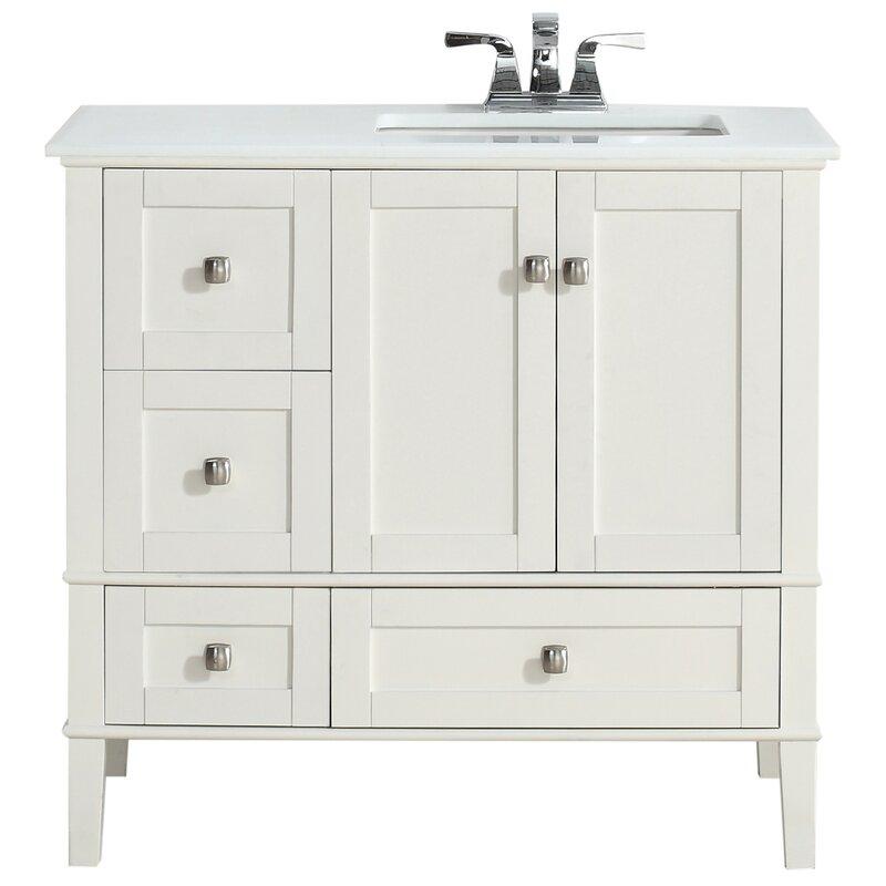Simpli Home Chelsea 37 Single Right Offset Bath Vanity Set