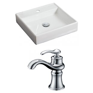 Affordable Price Ceramic Square Vessel Bathroom Sink with Faucet By American Imaginations