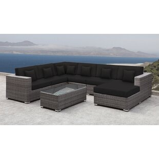 Roslindale 7 Piece Rattan Sectional Set with Cushions
