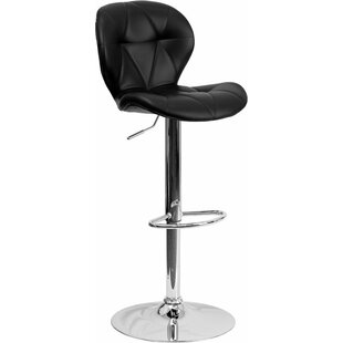 Outen Tufted Adjustable Height Swivel Bar Stool Wrought Studio