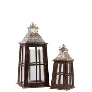 Wood Square Lantern with Silver Pierced Metal Top, Ring Hanger and Glass Windows Set of Two Stained Wood Finish by Urban Trends