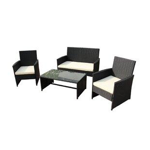 Lampkins 4 Piece Rattan Sofa Set with Cushions