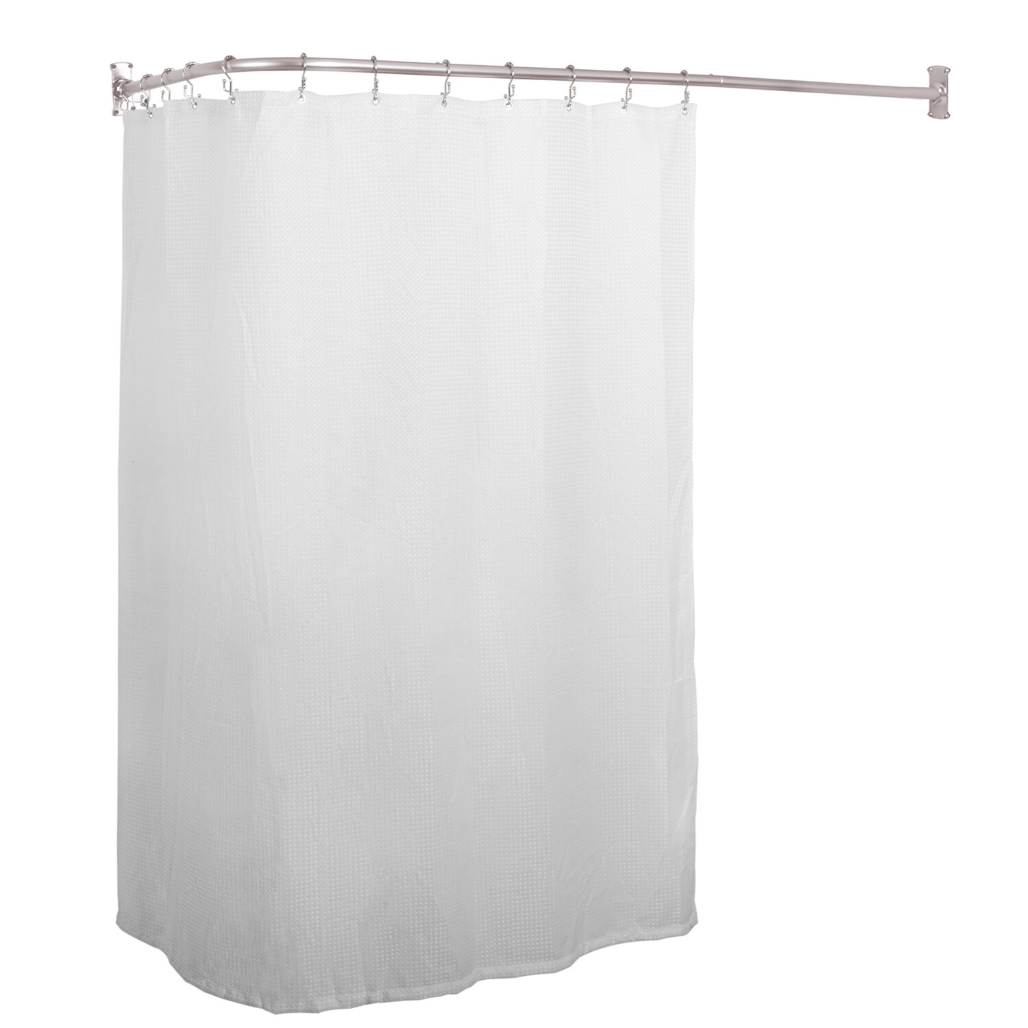 L Shaped Fixed Shower Curtain