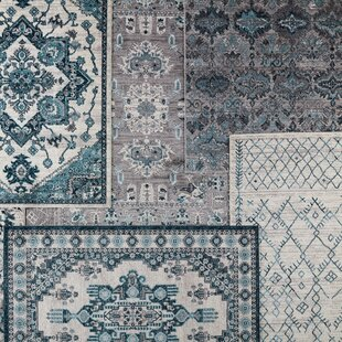Find for Emberly Medallion Turquoise/White Area Rug By Bungalow Rose