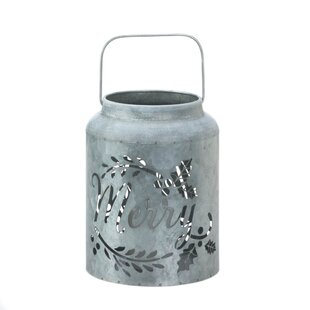 The Holiday Aisle Merry LED Galvanized Metal Lantern