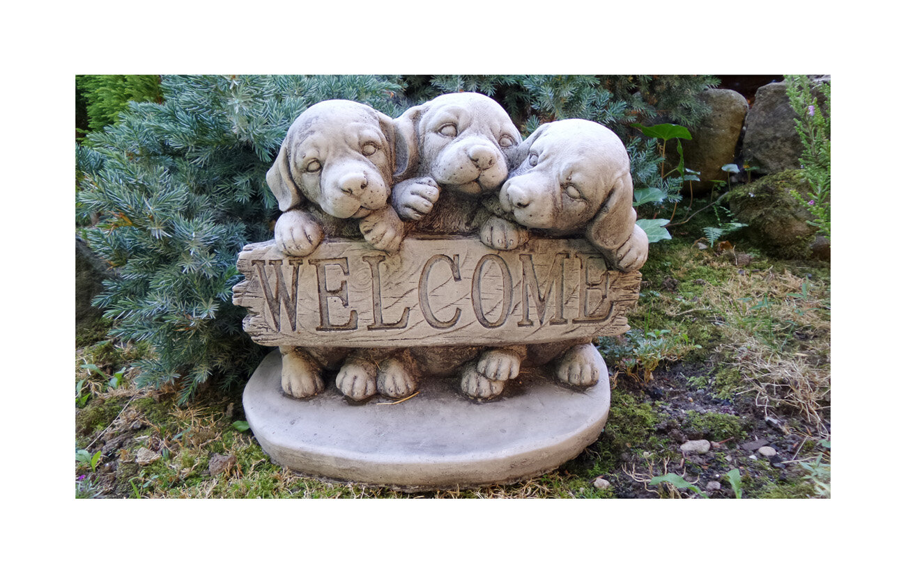 Lucero Dog Welcome Stone Garden Statue