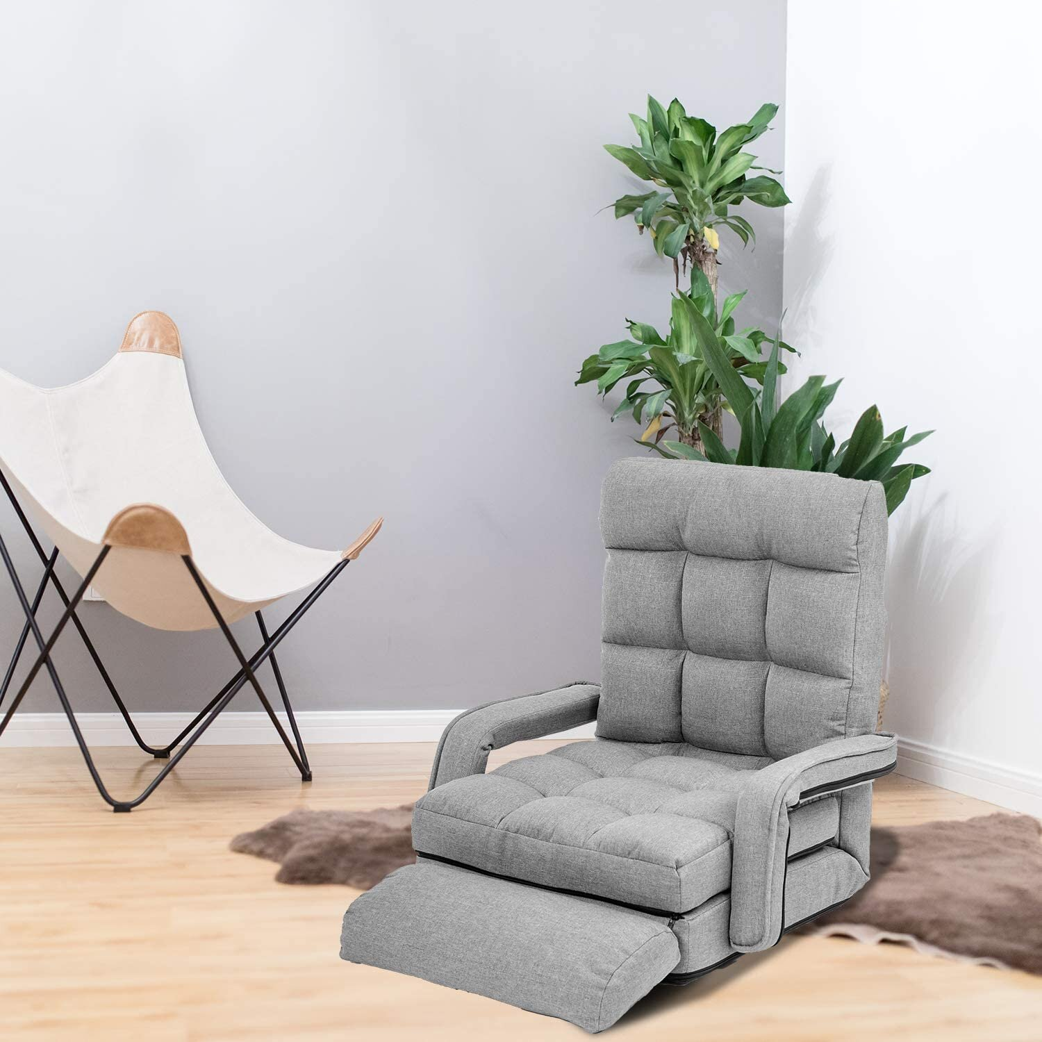 Trule Waytrim Indoor Chaise Lounge Sofa Folding Lazy Sofa Floor Chair 6 Position Folding Padded Lounger Bed With Armrests And A Pillow Chaise Couch Gray Wayfair