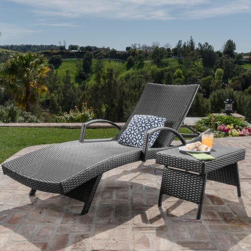Rebello Outdoor Wicker Chaise Lounge with Matching Accent Table