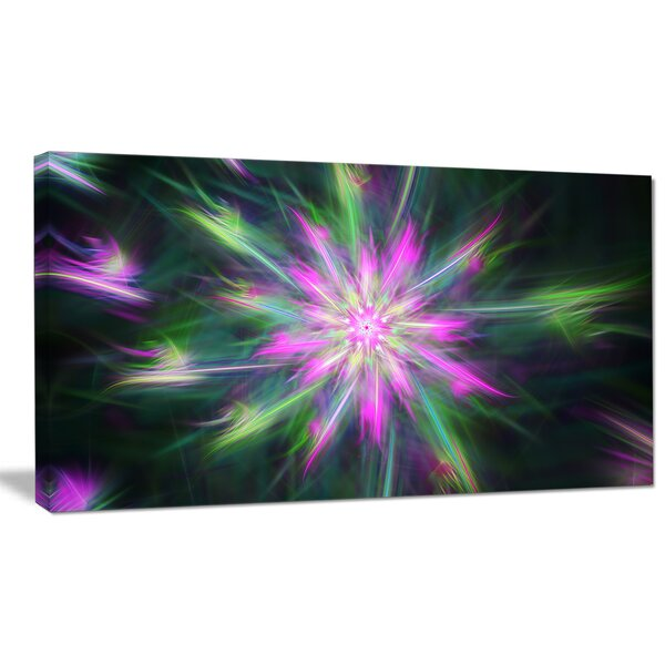 Designart Green Fractal Shining Bright Star Graphic Art On Wrapped Canvas Wayfair