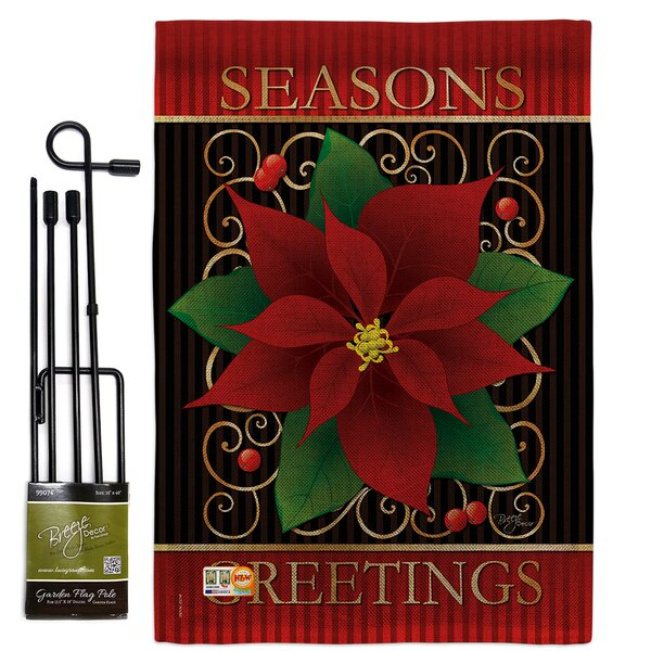 Breeze Decor Seasons Greetings Poinsettia Winter Christmas Impressions 2 Sided Polyester 19 X 13 In Flag Set Wayfair