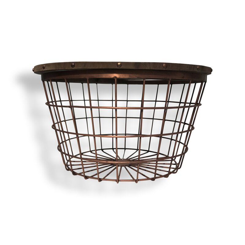 Bloomsbury Market Rolen Large Wire Basket End Table | Wayfair
