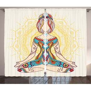Torrence Chakra Graphic Print and Text Semi-Sheer Rod pocket Curtain Panels (Set of 2) by Bungalow Rose