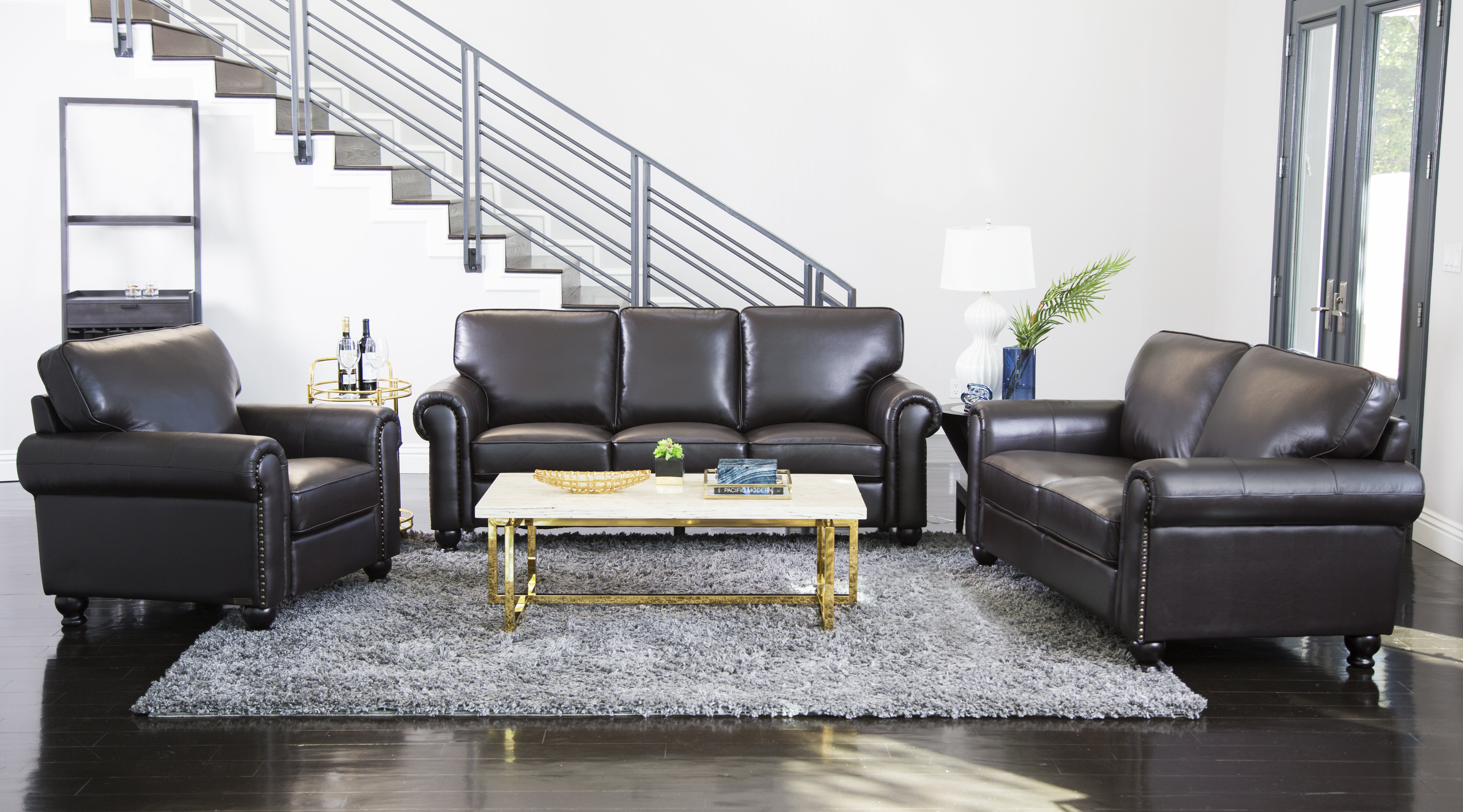 Darby home co coggins 3 piece leather living room set reviews wayfair