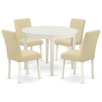 Ebern Designs Asaph 5 Piece Solid Wood Dining Set Wayfair Ca