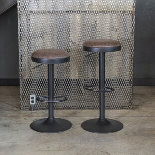 Cherise Adjustable Height Swivel Bar Stool (Set of 2) by Williston Forge
