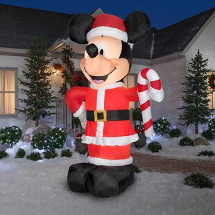 disney santa mickey with candy cane inflatable