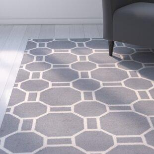 Evangeline Hand-Tufted Gray Geometric Indoor/Outdoor Area Rug byEbern Designs
