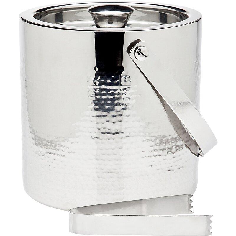 Godinger Silver Art Co 2 Piece Hammered Ice Bucket Tong Set Reviews Wayfair